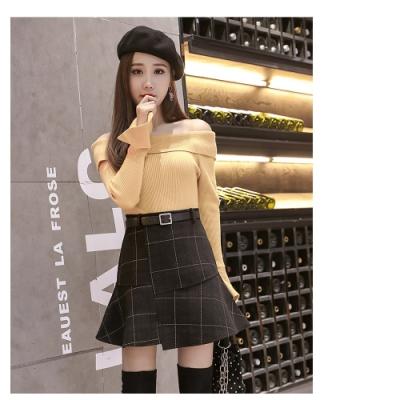 2F韓衣-韓系不規則腰帶裙-黑M