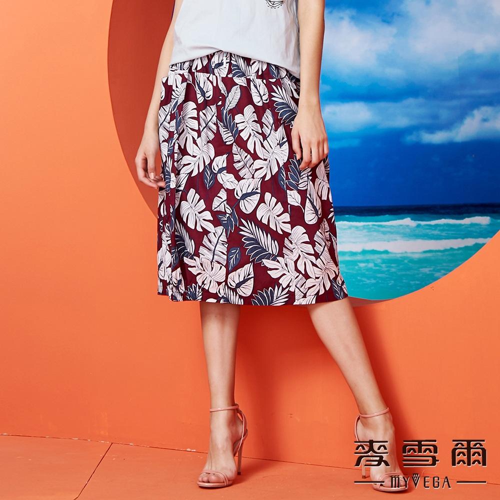 【麥雪爾】休閒渡假棉麻花苞中裙