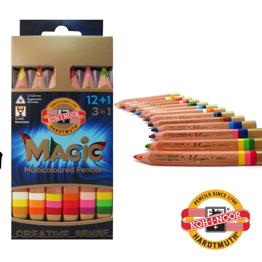 【KOH-I-NOOR】 12+1三角彩虹魔術色鉛筆組 附贈削筆器 捷克原裝進口