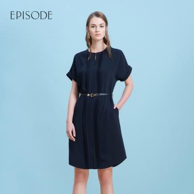 EPISODE - 深藍皺褶設計短袖雪紡洋裝