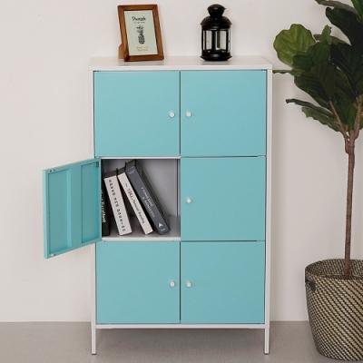 Homelike 波琳鋼製六門置物櫃(天空藍)-65x36x105cm