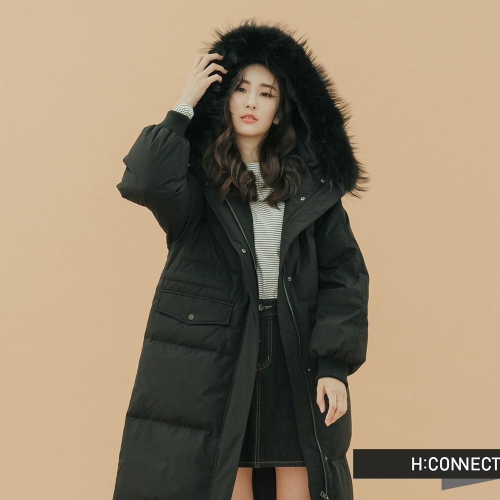 H:CONNECT 韓國品牌 女裝-簡約長版羽絨外套-黑