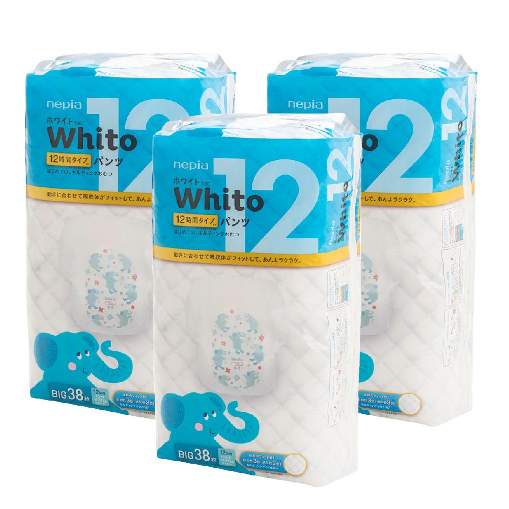 Nepia Whito王子白色系列褲型紙尿褲 日本境內十二小時版 XL 38片x3包/箱