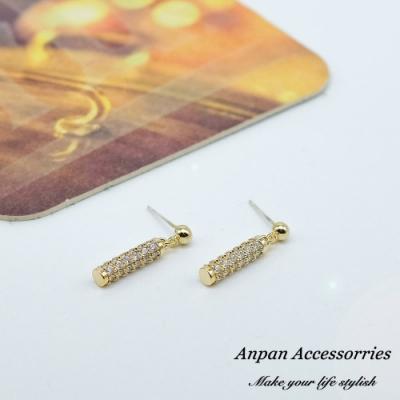 【ANPAN愛扮】韓東大門復古經典滿鑽圓柱925銀耳針式耳環