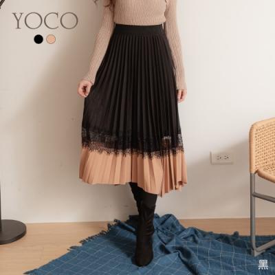 東京著衣-YOCO 極致浪漫撞色拼接蕾絲不規則百褶長裙