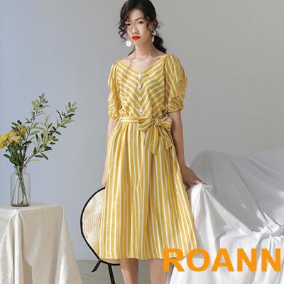 馬卡龍色條紋V領泡泡袖洋裝 (共二色)-ROANN