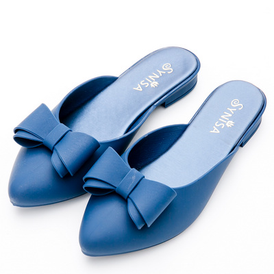 River&Moon雨鞋-防水朵結尖頭果凍穆勒涼拖鞋-藍