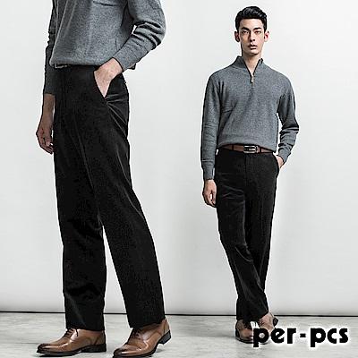 per-pcs 高品味優質條絨平面西褲_黑色(812113)