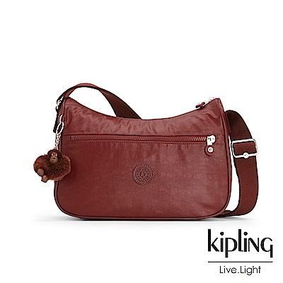 Kipling 雅緻紅褐素面拉鍊側背包-SALLY