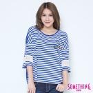 SOMETHING 蕾絲條紋貼標T恤-女-藍色
