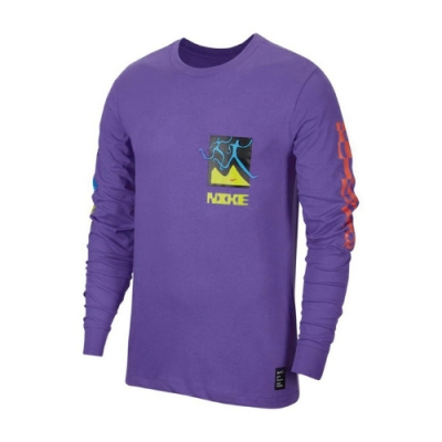 Nike 長袖T恤 Chaz Bundick Top 男款 Dri-FIT 吸濕排汗 純棉 塗鴉 圓領 紫 彩 CW0942554