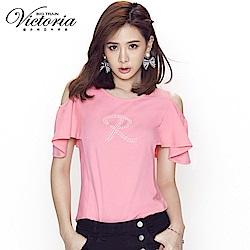 Victoria 挖肩設計荷葉波浪短袖-女-珊瑚粉