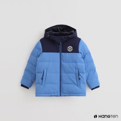 Hang Ten-童裝-ThermoContro-色塊拼接連帽羽絨外套-藍