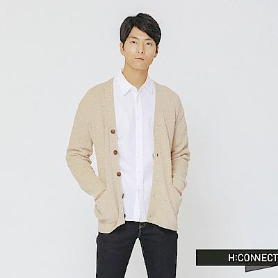 H:CONNECT 韓國品牌 男裝-排釦口袋針織外套-卡其