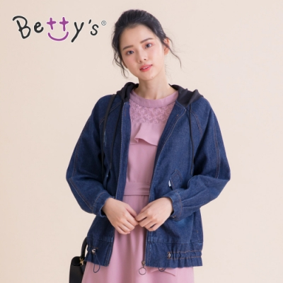 betty's貝蒂思 連帽刷色復古牛仔外套(深藍)