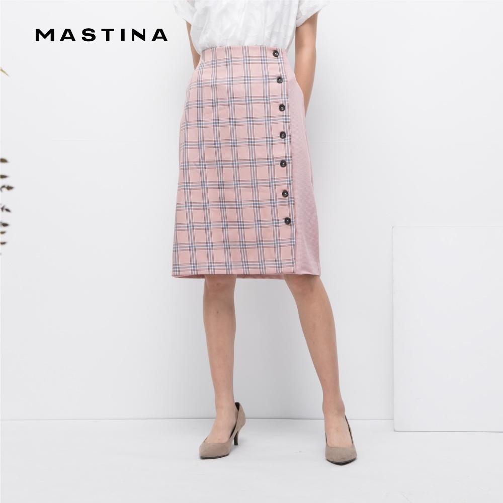 【MASTINA】格子拼接排釦-裙子(粉色)