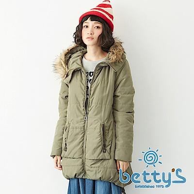 betty's貝蒂思 滾毛連帽鋪棉大衣(綠色)