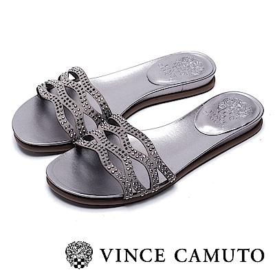 VINCE CAMUTO 簍空水鑽平底涼鞋-絨灰