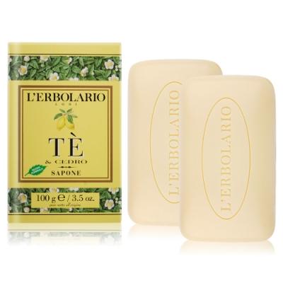 L ERBOLARIO 蕾莉歐 茶樹香柏植物皂100gX2-贈品牌試用包(隨機出貨)