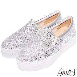 Ann'S超閃亮片碎石厚底休閒懶人鞋-銀