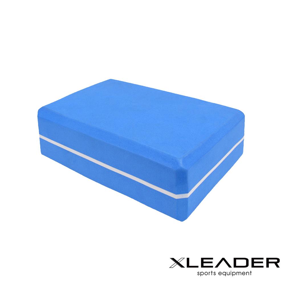 Leader X  環保EVA高密度防滑 雙色夾心瑜珈磚 藍色 - 急