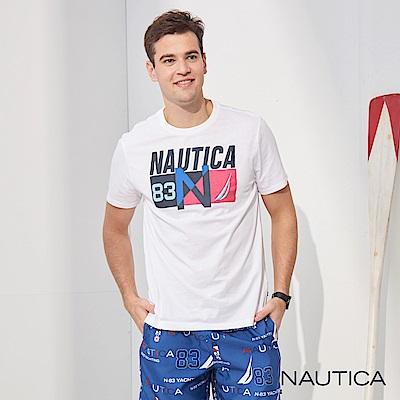 Nautica 經典撞色圖騰LOGO短袖T恤-白
