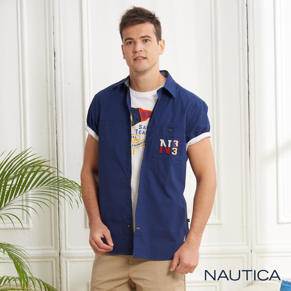 Nautica經典LOGO合身版短袖襯衫-藍色