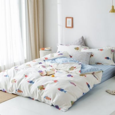 La Lune MIT精梳棉200織紗加大床包枕套3件組 趕海人生