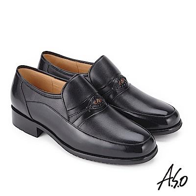 A.S.O 勁步雙核心 壓紋牛皮奈米紳士鞋 黑