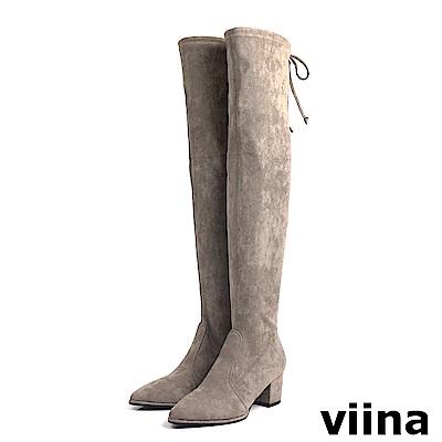 viina Basic 絨毛布高跟過膝靴 - 可可