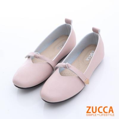 ZUCCA-圓方頭繫繩平底包鞋-粉-z6628pk