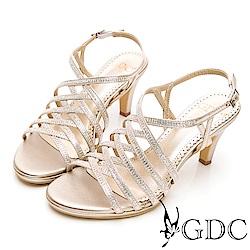 GDC-性感女神交叉簍空羅馬跳舞水鑽高跟涼鞋-金色