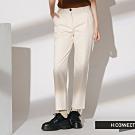 H:CONNECT 韓國品牌 女裝-後腰鬆緊素面直筒褲-卡其
