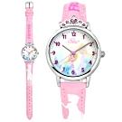 Disney 迪士尼 冰雪奇緣 Elsa 皇冠粉鑽造型 兒童卡通皮革手錶-粉紅色/30mm