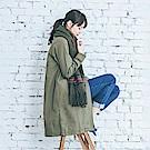 YVONNE棉風衣布簡約長版外套- 橄欖綠