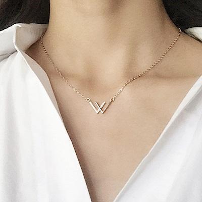 Hera 赫拉 925純銀雙V微鑲鋯石項鍊
