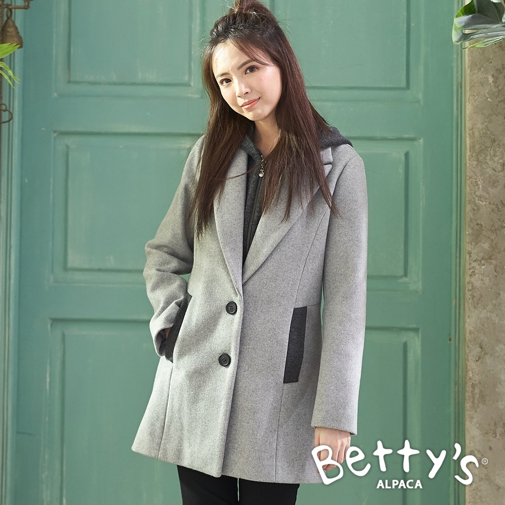 betty's貝蒂思 西裝領連帽毛呢大衣(淺灰)
