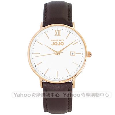NATURALLY JOJO 簡約風尚真皮手錶男錶-玫瑰金框X咖啡/41mm