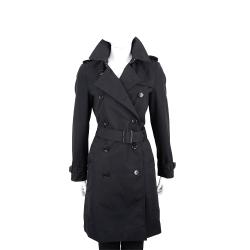 BURBERRY Harbourne系列 黑色排釦長版風衣(女款)