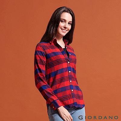 GIORDANO 女裝純棉雙口袋法蘭絨襯衫-35 紅/海軍藍/格子
