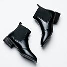 River&Moon短靴-簡約拼接方頭卻爾西短靴 黑
