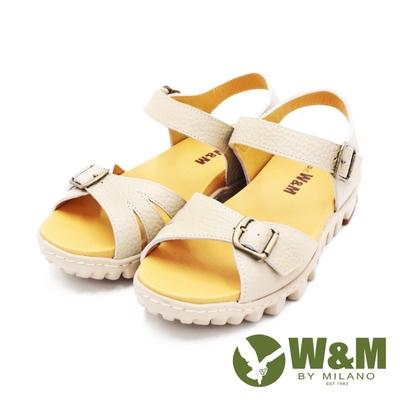 W&M(女)可調式真皮厚底輕量涼鞋 女鞋-卡其(另有藍)