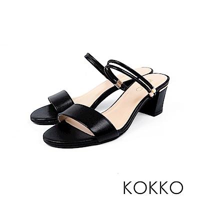KOKKO - 簡單生活線條感真皮高跟涼鞋 - 濃情黑