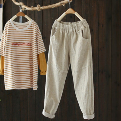 寬鬆燈芯絨休閒褲條絨長褲-設計所在