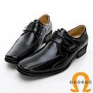 【GEORGE 喬治皮鞋】時尚職人系列 真皮小方楦魔鬼氈紳士鞋皮鞋-黑