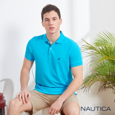 Nautica清新亮色吸濕快乾短袖POLO衫-湖水藍