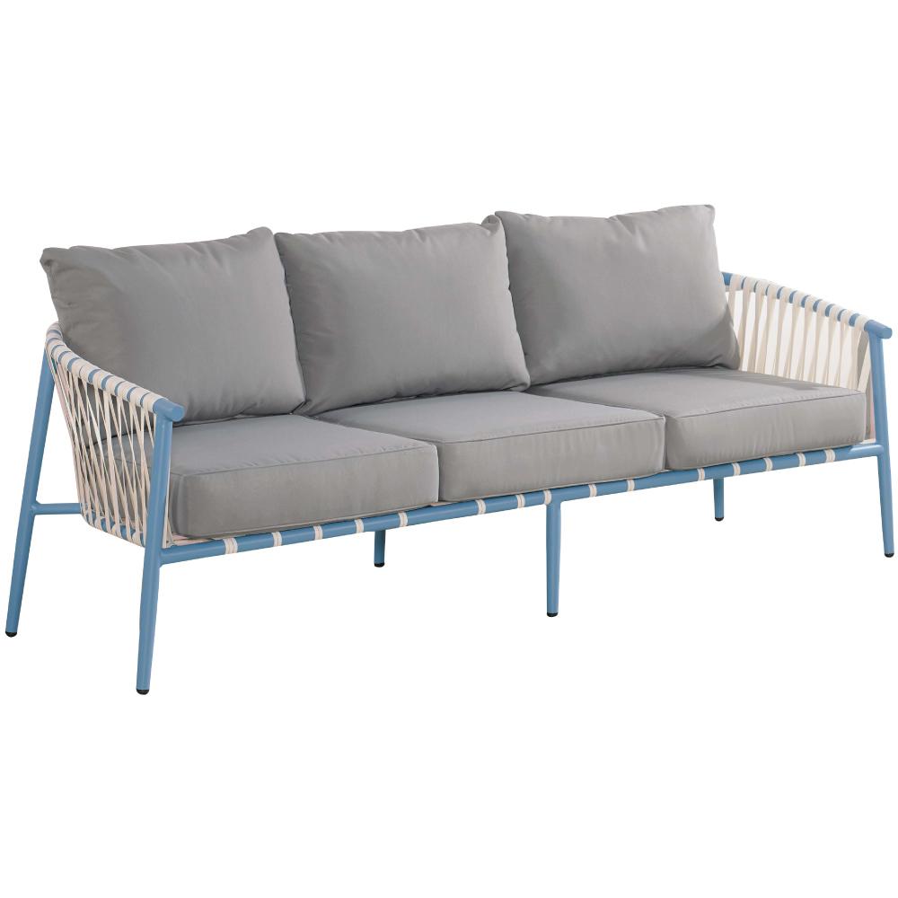 文創集 莉西地中海棉麻布編藤三人座沙發椅-190x80x67cm免組