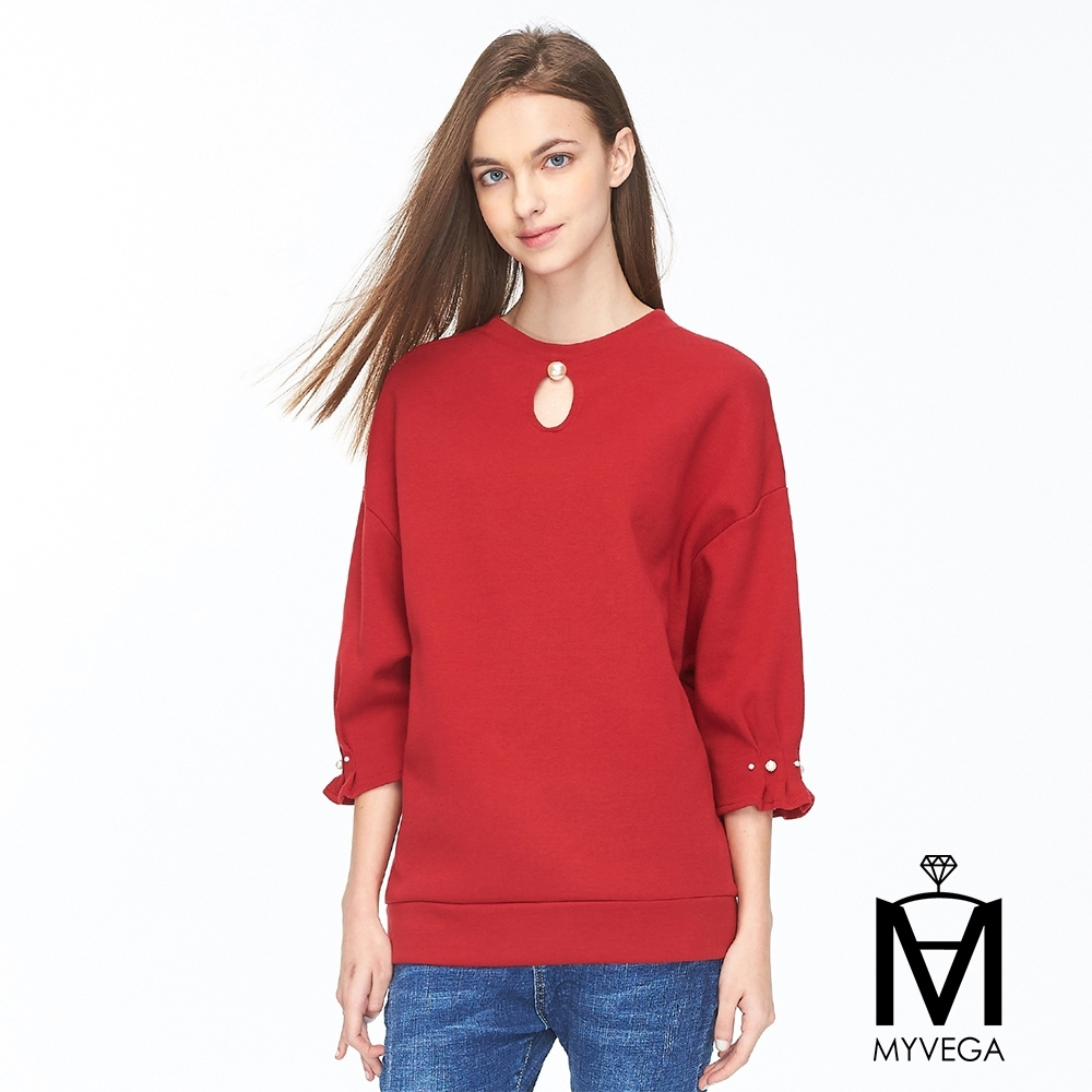麥雪爾 MA高含棉綴珍珠純色圓領七分袖上衣-紅