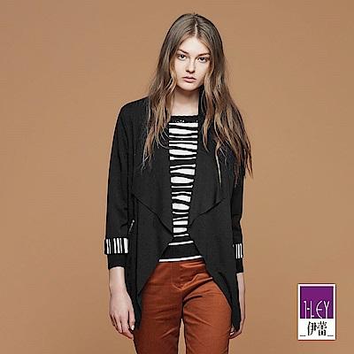 ILEY伊蕾 時尚拼接條紋配色外套(黑)
