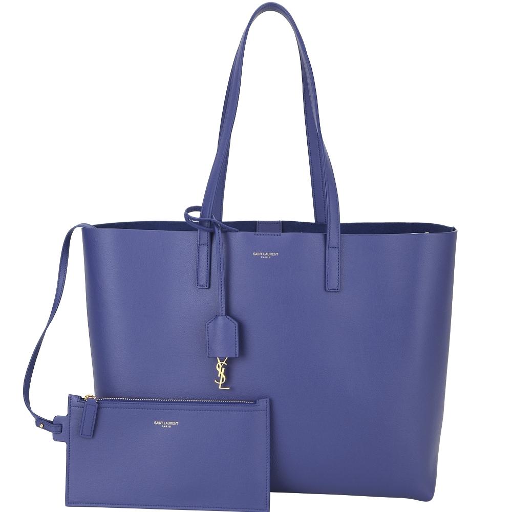 YSL Saint Laurent E/W 附可拆萬用包軟質牛皮托特包(紫藍色)
